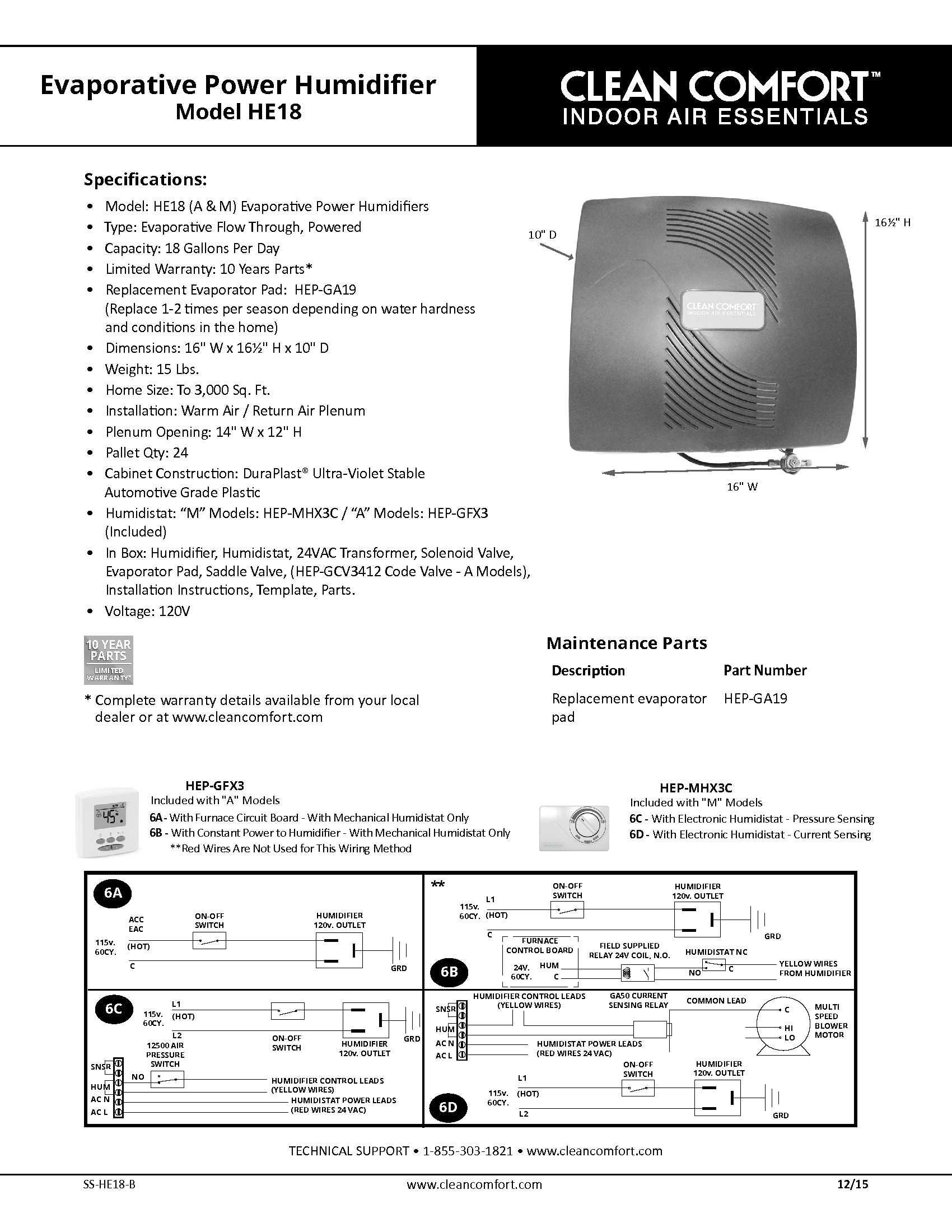Goodman H18f Clean Comfort Humidifiers H18fm H18fa